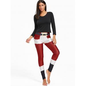 Christmas Belt Printed Color Block Leggings -
