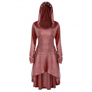 Plus Size Lace Up Marled Dip Hem Hoodie -