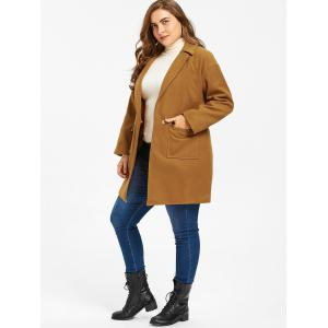 Wool Blend One Button Plus Size Coat -