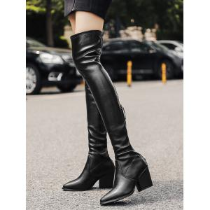 Point Toe Artificial Leather Over the Knee Boots -