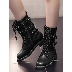 Studs Buckle Strap Size Zip Ankle Boots -