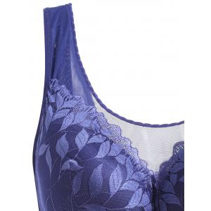 Plus Size Leaf Lace Wirefree Padded Bra -