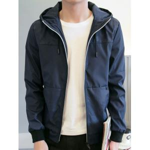 Zipper Up Drawstring Hooded Track Jacket -