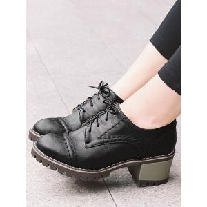 Chunky Heel Stitching Lace Up Boots -