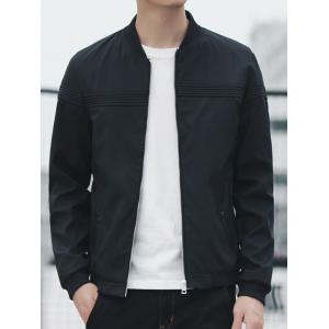 Zip Up Stand Collar Casual Bomber Jacket -