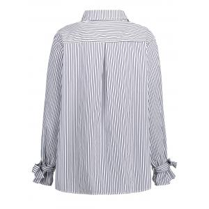 Bowknot Plus Size  Vertical Stripe Shirt -