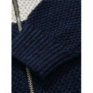 Stand Collar Zip Up Striped Sweater -