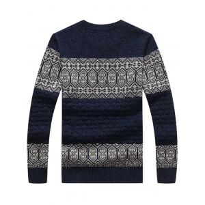 Crew Neck Vintage Stripe Pattern Sweater -