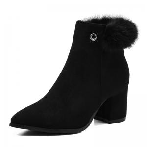 Chunky Heel Fur Embellished Pointed Toe Boots -