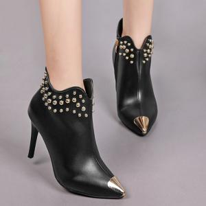 Pointed Toe Rivets Curve Boots -