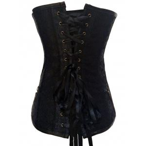 Punk Rock Stain Zipper Lace Up Corset Top -
