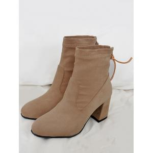 Pointed Toe Block Heel Ankle Boots -