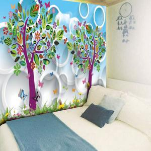 Cartoon Tree Circle Print Wall Art Tapestry -