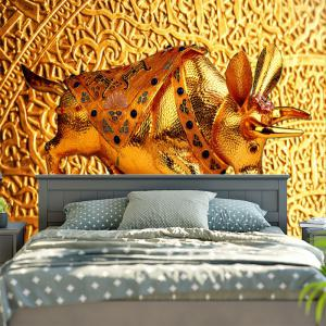 Wall Hanging Golden Cow Printed Tapestry -