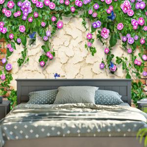 Flower Print Mottled Wall Hanging Tapestry -