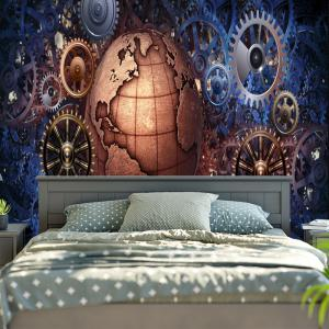 Vintage Gear Wheel and Globe Print Wall Tapestry -