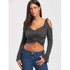 Ribbed V Neck Short Spaghetti Strap Sweater -