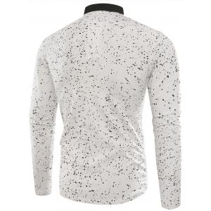 Splatter Paint Print Long Sleeve Polo T-shirt -