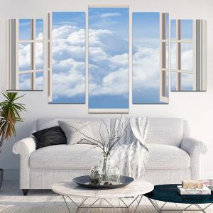 Wall Art Window Cloud Canvas Painting -