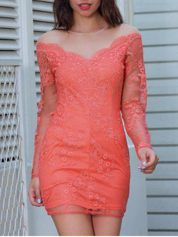 Sale Sheer Long Sleeve Mini Lace Dress - L RED Mobile