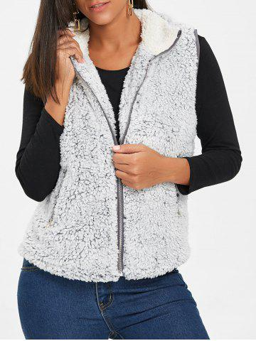 Sale Zip Fly Stand Collar Shearling Vest - M LIGHT GRAY Mobile