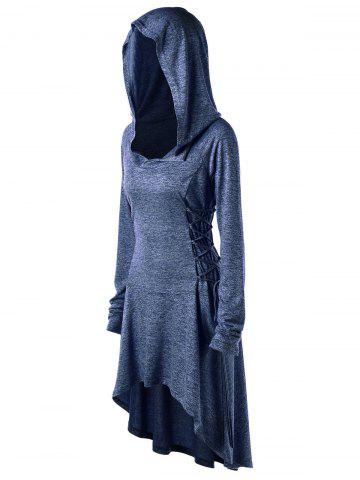 Affordable Plus Size Lace Up Marled Dip Hem Hoodie - 3XL BLUE Mobile