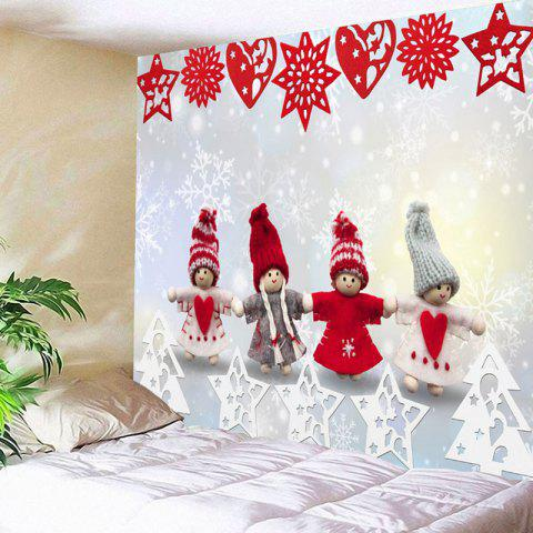Hot Christmas Snowman Paper Cutting Printed Wall Tapestry - W59 INCH * L51 INCH COLORMIX Mobile