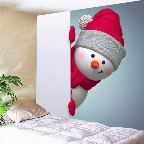 Unique Wall Hanging Christmas Naughty Snowman Printed Tapestry - W59 INCH * L51 INCH COLORMIX Mobile