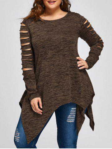 Chic Plus Size Ripped Sleeve Marled Handkerchief Top COFFEE XL