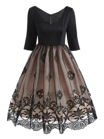 Sale V Neck Floral Lace Panel Vintage Dress
