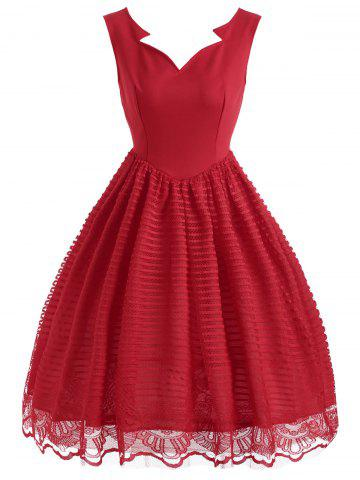 Store Striped Lace Sleeveless Vintage Dress - S RED Mobile