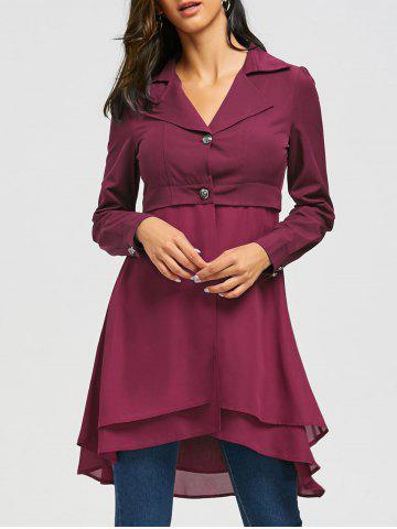 Lapel High Low Coat Rouge vineux  M