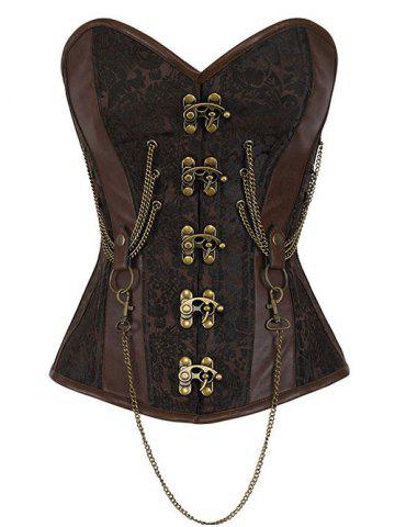 Trendy Buckle Chain Steampunk Steel Boned Lacerate Up Corset