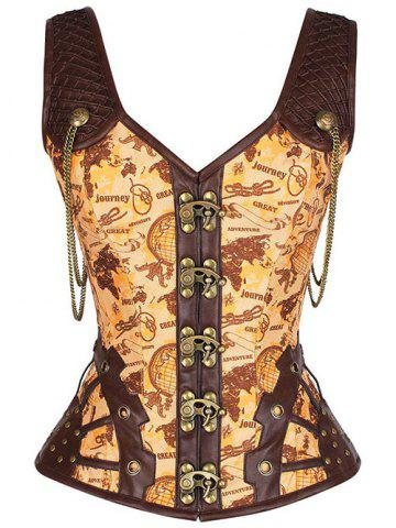 Store Punk Studded Lace Up Pirate Overbust Corset Vest - 2XL YELLOW Mobile