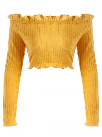 Discount Off The Shoulder Ruffle Ribbed Crop Sweater