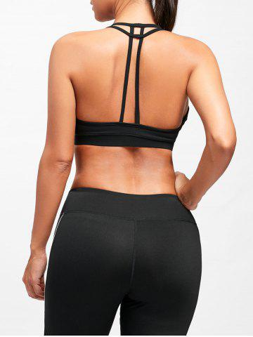 Outfit T-Back  Padded Cutout Yoga Bra - XL BLACK Mobile