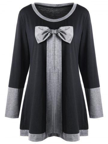 Unique Plus Size Bowknot Embellished Longline Top - 5XL BLACK Mobile