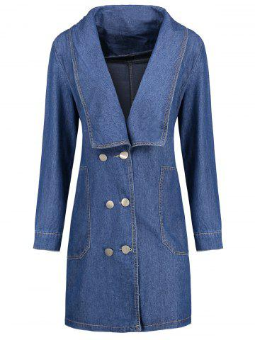 Unique Plus Size Double Breast Long Denim Coat