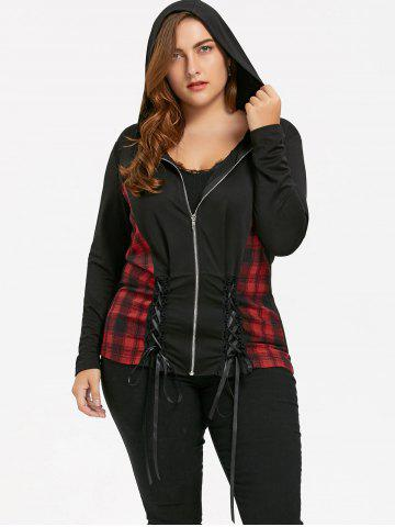 Unique Plaid Panel Plus Size Hooded Lace-up Coat BLACK XL