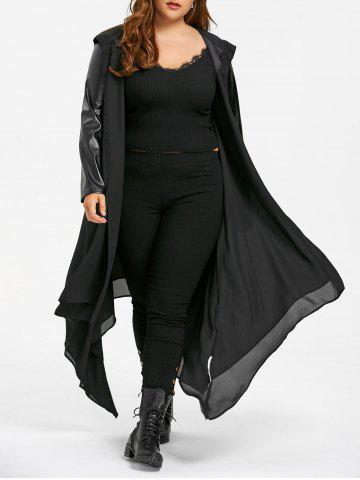 Unique PU Leather Panel Hooded Duster Coat - XL BLACK Mobile