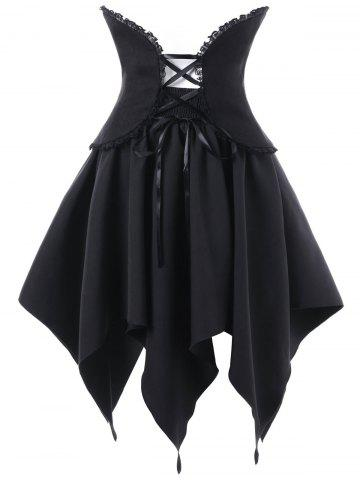 Online Halloween Lace Up Handerchief Skirt with Corset Cummerbund - L BLACK Mobile
