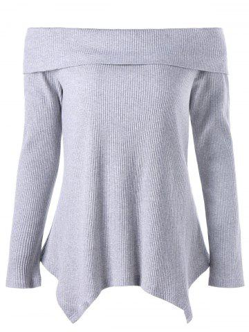 Affordable Off The Shoulder Long Sleeve Irregular Knitwear GRAY M