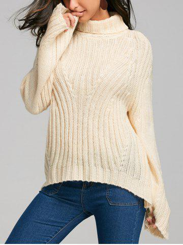Unique Drop Shoulder Stripy Turtleneck Sweater PALOMINO XL