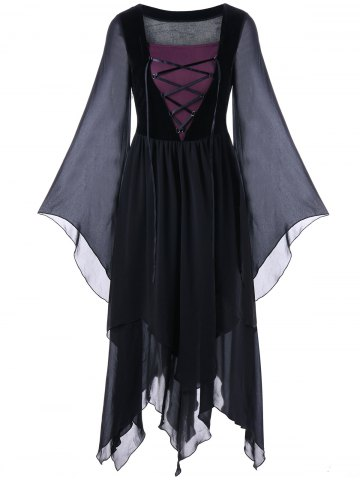 Shop Asymmetric Flare Sleeve Lace-up Chiffon Dress BLACK M