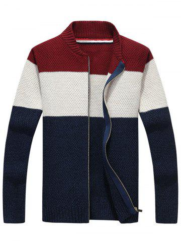 Hot Stand Collar Zip Up Striped Sweater PURPLISH BLUE L