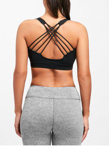 Fashion Strappy Criss Cross Sports Bra - S BLACK Mobile