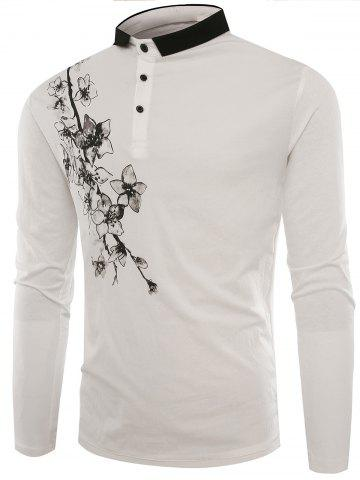 New Buttons Polo Florals Print T-shirt WHITE L