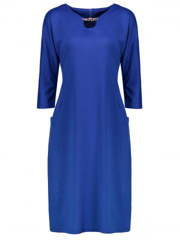 Hot Plus Size Fitted Midi Dress with Pockets BLUE 3XL