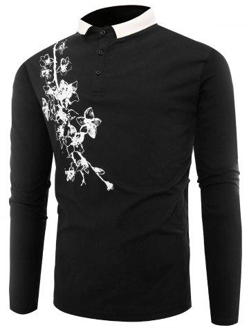 Store Buttons Polo Florals Print T-shirt - 3XL BLACK Mobile