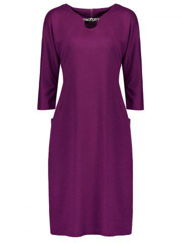 Chic Plus Size Fitted Midi Dress with Pockets PURPLE 6XL